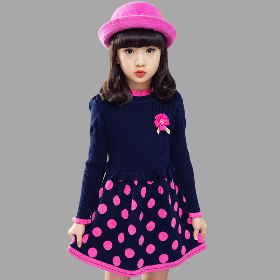 Dresses For Girls Dot Knitted Sweater Dress For Girls Party Kids Dress Autumn Winter Christmas Clothes For Girl 3 5 8 9 13 Years