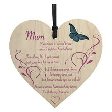 Mum I Will Always Love You Wooden Hanging Heart Mothers Day Present Plaque Gift
