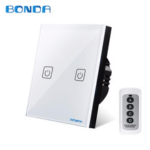 BONDA genuine EU/UK standard two open wireless remote control switch luxury crystal glass panel touch screen wall light switch(China)