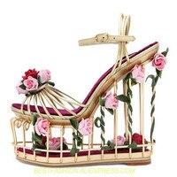 Модные сандалии с золотистым цветком, женские сандалии с вырезами на очень высоком каблуке, обувь на платформе с птичьими клетками, роскошн