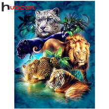 Huacan Diamond Painting 5d Animals Embroidery Tiger And Lion Picture Of Rhinestones Mosaic Hobby Handicraft