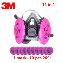 11 in 1 Half Face Mask 3M 6200 Spray Paint/Dust Mask respirator Anti-Dust mask facepiece with 2091 P100 Fliters