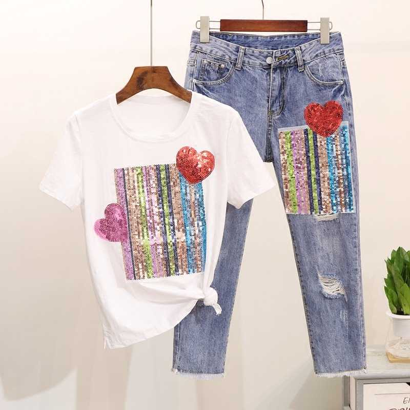 5XL 2 ชิ้นชุดสตรีกางเกงยีนส์ชุด Sequined Heart เสื้อยืดผู้หญิง Tracksuits Cotton Tshirt Ripped DenimTrousers ชุดขนาดใหญ่