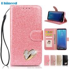 Coque Etui กรณีสำหรับ Samsung Galaxy A3 A5 J3 J5 J7 2017 S7 S8Plus S9Plus ขอบหมายเหตุ 8 9 หรูหรา Glitter PU กระเป๋าสตางค์