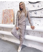 2019 Side Striped Women Winter Knitting Set Women Sweater Top And Full Pant 2 Piece Set Suit Casual Women Tracksuit