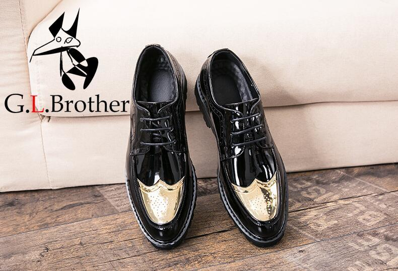Shoes Men Pointed Toes Smart Casual Platform Height Increasing Shoes Carved Brogue Genuine Patent Leather Slip-on Dress Shoes fashion genuine leather brogue shoes men spring new dress shoes formal shoes height increasing platform men shoes hot sale