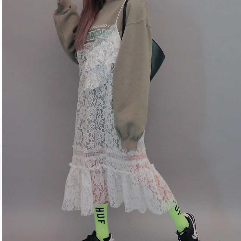 LANMREM 2019 Новинка кружевное платье с v-образным вырезом; платье на бретельках с оборками шить цветок с прорезями просматривающееся женское летнее платье QG05300