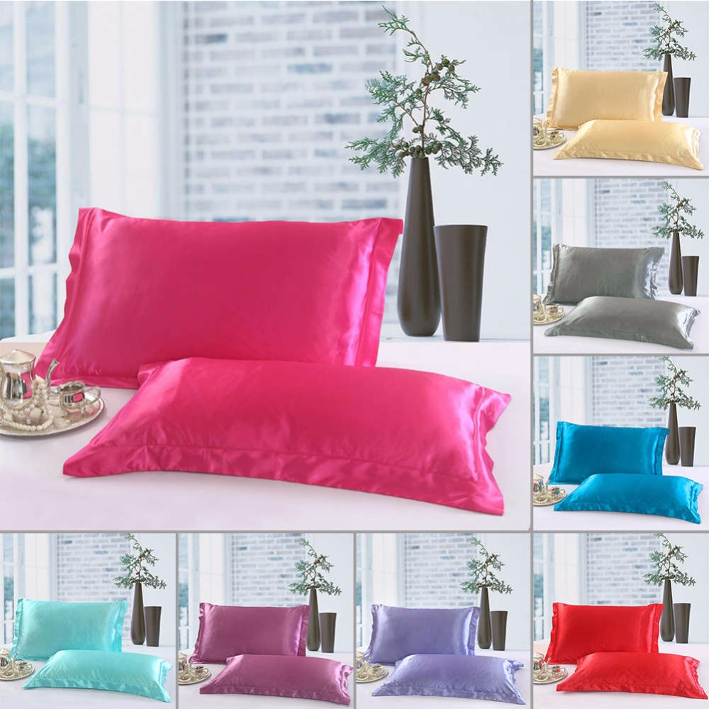 1/2 Pcs/Set New Standard Size Polyester Satin Pillowcase ,100% Imitation Silk Solid Color Soft Comfortable Pillow Cover29