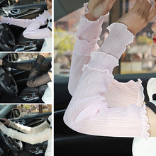 Women Arm Warmers Pleated Yarn Long Breathable Sunscreen Driving Sleeve Fingerless Gloves sexy lace glove Solid White Sport
