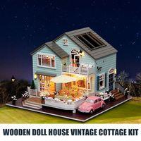 Wooden Doll House Vintage Cottage Kit Wood Dollhouse DIY Hut Crafts Set Mansion Girls House Toy Birthday Gift