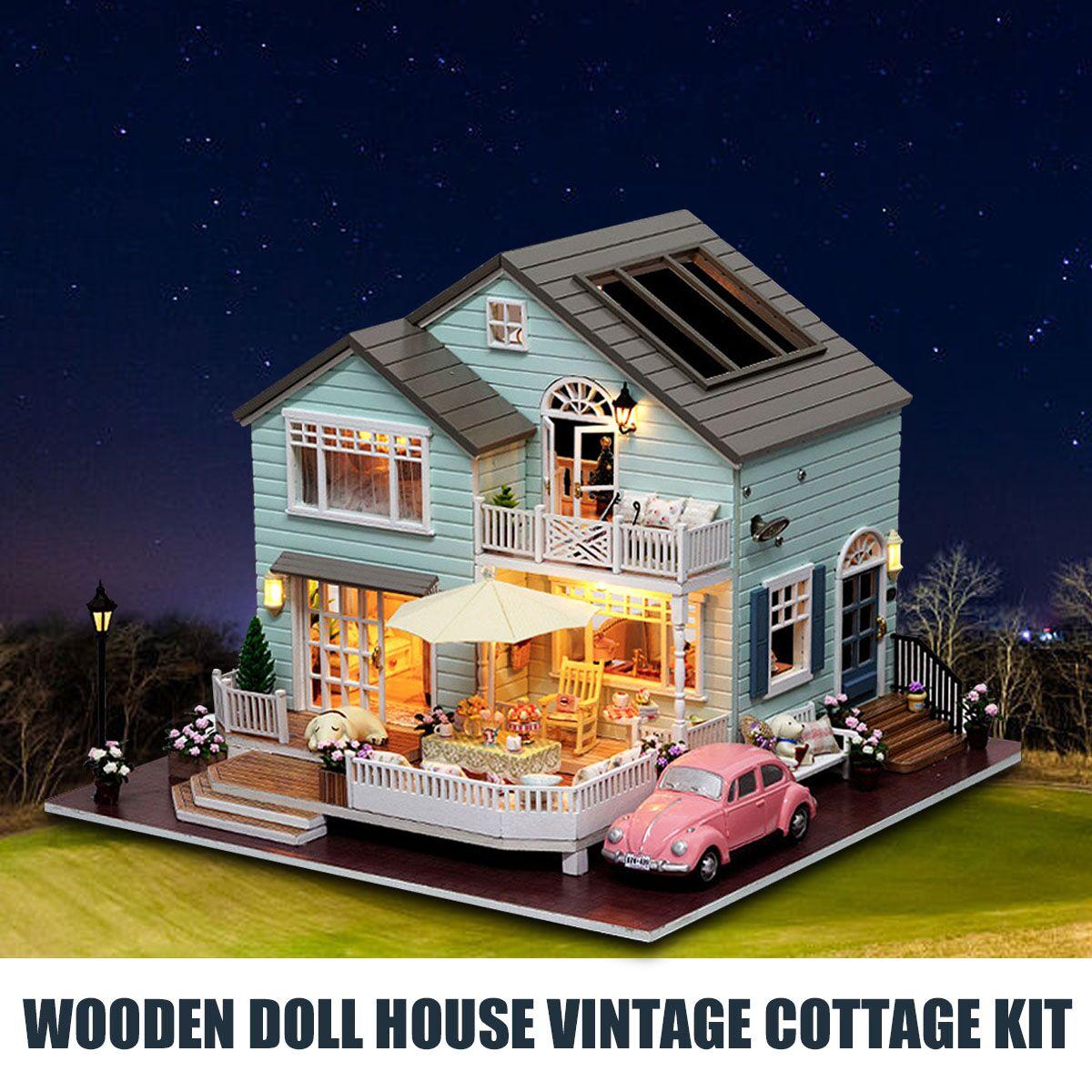 Maison de poupée en bois Vintage Cottage Kit maison de poupée en bois bricolage cabane artisanat Set manoir filles maison jouet cadeau d'anniversaire