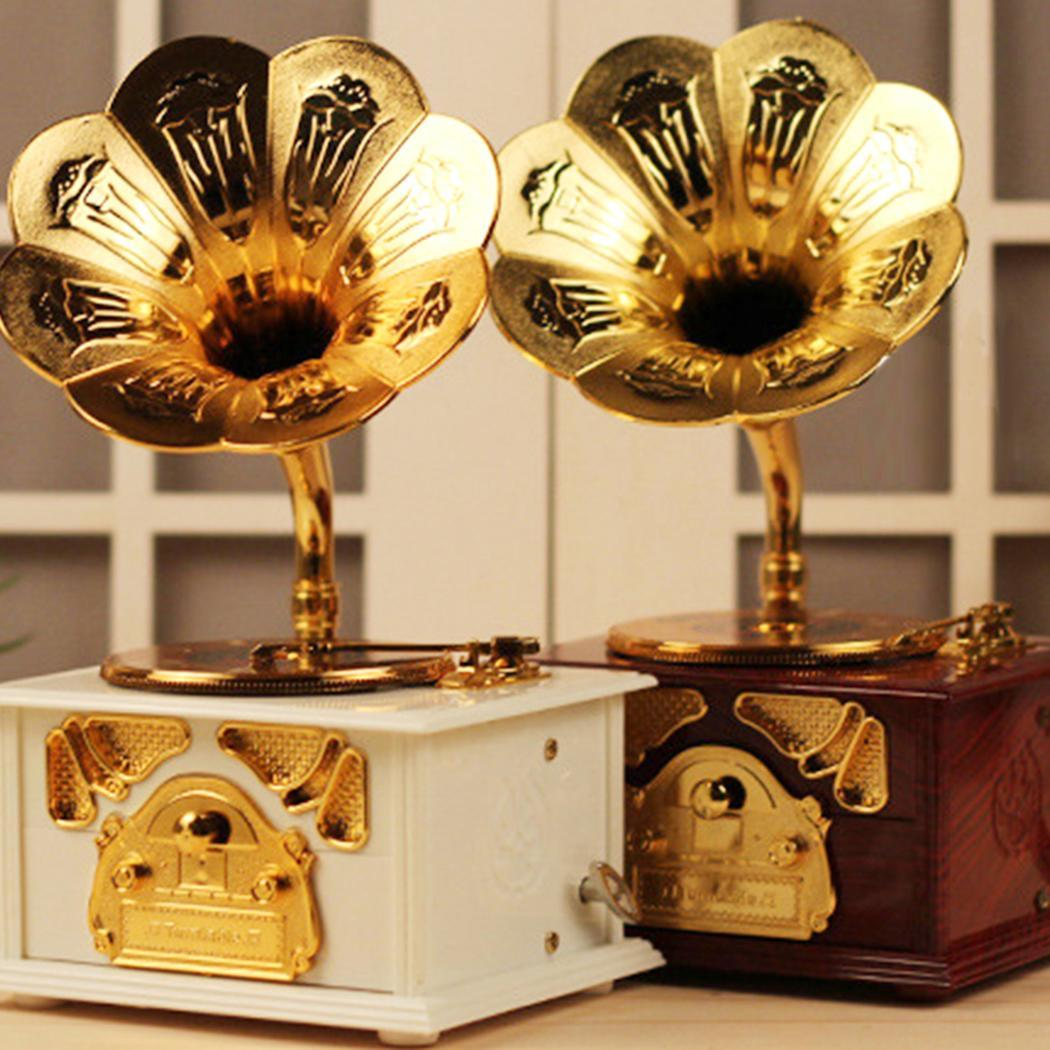 Cranked Gramophone Shaped Hand Swivel Unisex Storage Jewelry White Classical Decorative Music Box Brown