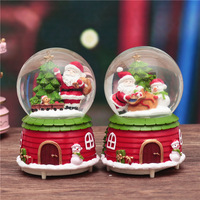 Christmas Music Boxes Snow Crystal Ball Box With Light Xmas New Year Birthday Gifts Home Decoration Santa Claus Merry Christmas