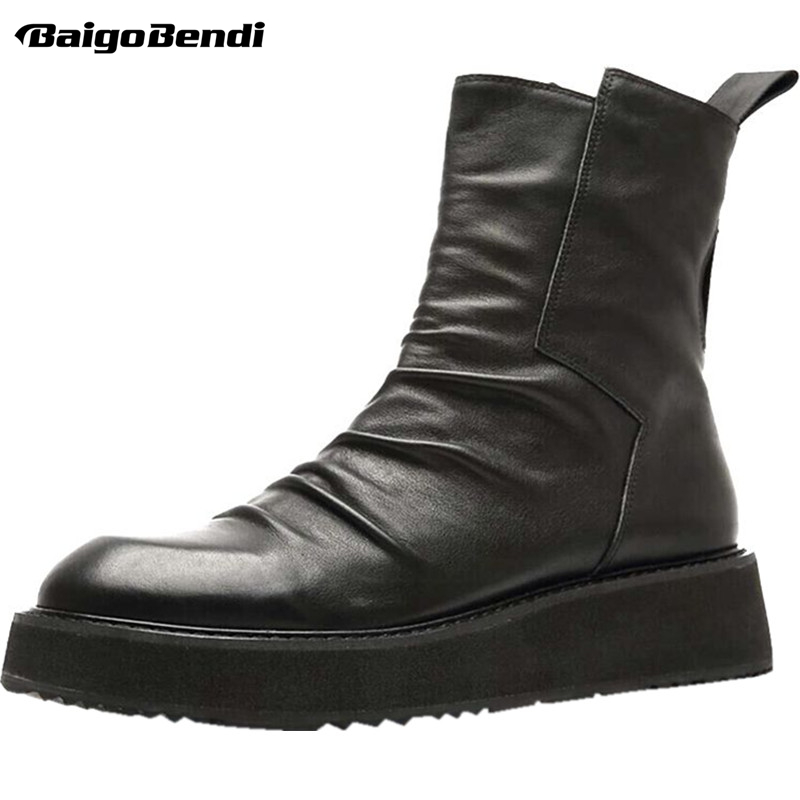 US 6-10 Thick Heel Chelsea Boots Men Real Leather Mid-calf Boots Pure Black Wrinkle Boots Soliders Winter Shoes