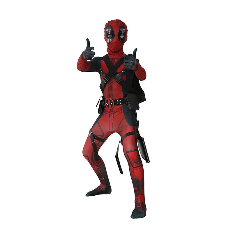 Child Boys Deluxe Deadpool Skintight Spandex Zentai Suit Kids Halloween Cosplay Costume