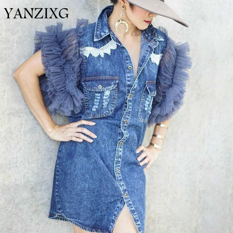 Maille Patchwork femmes pour Denim veste sans manches bouton grande taille femme hauts Streetwear mode 2019 coréen W701