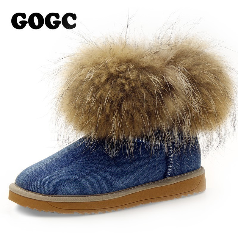 GOGC Russian Famous Brand Womens Boots Real Fox Fur and Wool Snow Boots for Women Winter Shoes Warm Womens Winter Shoes 9751GOGC Russian Famous Brand Womens Boots Real Fox Fur and Wool Snow Boots for Women Winter Shoes Warm Womens Winter Shoes 9751