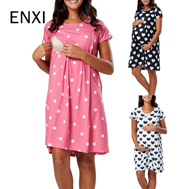 ENXI New S-2XL Print Maternity Clothes Summer Short Sleeve Pregnant Dress Blue Yellow Pregnancy Clothes For Pregnant Women