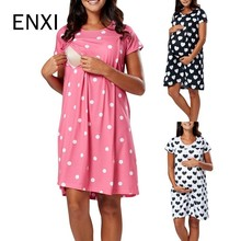 ENXI New S-2XL Print Maternity Clothes Summer Short Sleeve Pregnant Dress Blue Yellow Pregnancy For Women