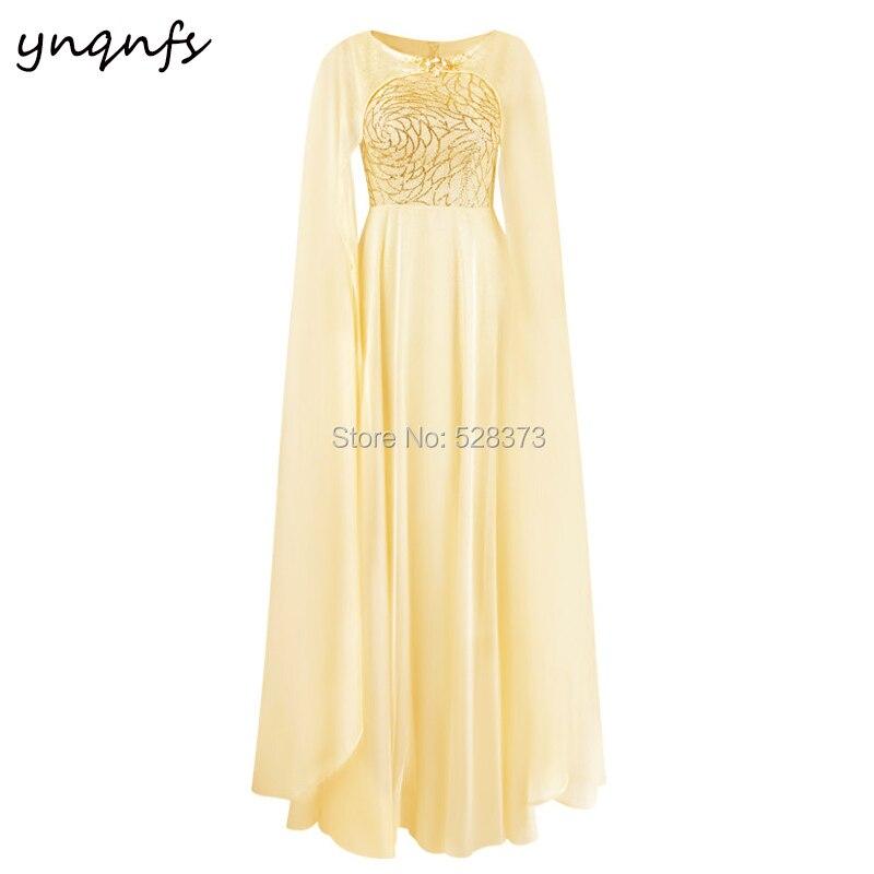 YNQNFS Robe de soirée sur mesure caftan Dubai Cape manches longues en mousseline de soie jaune Robe formelle mère de la Robe de mariée M31