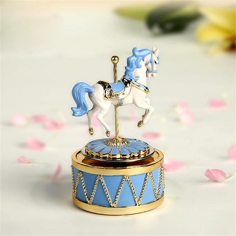 Mini Carousel Music Box   Music Box No Face Resin Figurine Kids Toys  Children's Gift