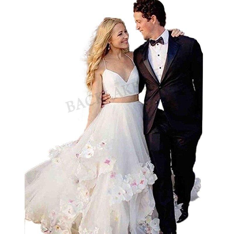 Beach 2 Pieces Wedding Dress 2019 Flowers Spaghetti Straps Appliques Sexy Bride Dress Backless Vestido De Novia Fairy Dress