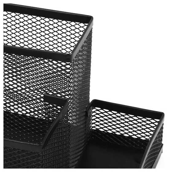 Desk Decor 4 Mesh compartments pencil Holder 8.1 Length Black