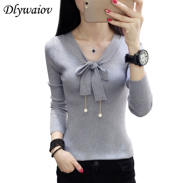 Elegant V neck Sweater Women Tops 2018 Autumn Long sleeve Bow Female Pullover Knitted Sweaters Korean Black White Pull femme