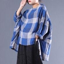 [EWQ] เสื้อยืด Pullovers ใหม่รูปแบบรอบคอสามลายสก๊อตไม่สมมาตร
