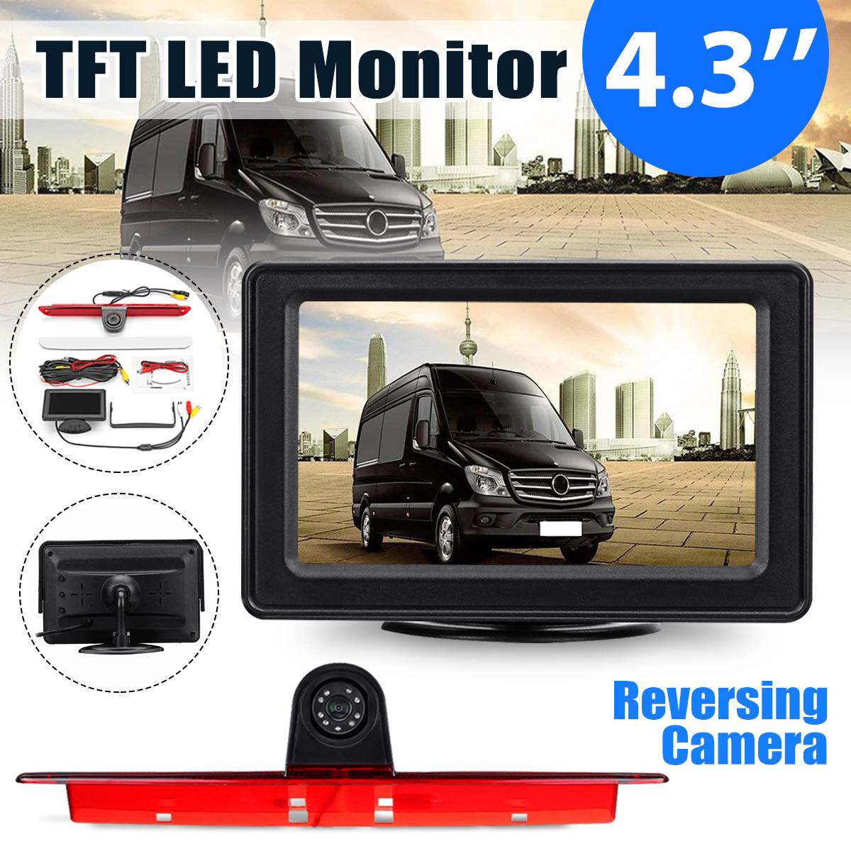 "4.3"" TFT LED Monitor + Reversing Backup Rear View Camera For Mercedes Benz for Sprinter for VW for Crafter 2006 2017-in Vehicle Camera from Automobiles & Motorcycles    1"