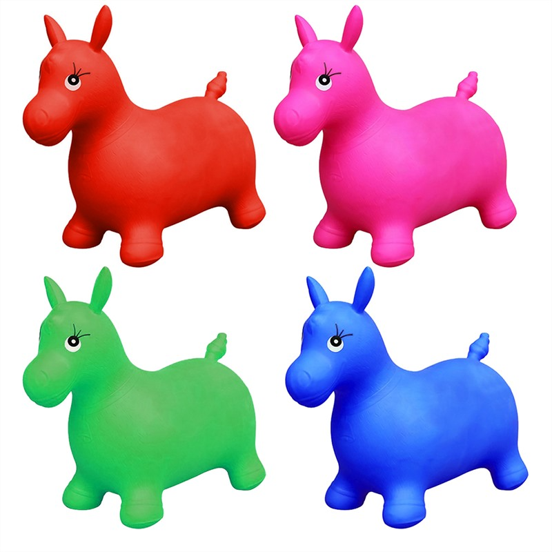 Ride On Bouncy Horse Animal Space Hopper Inflatable Play Toys Fun Soft For Kids Jumping Horse Riding Animal Toys Hand Pump