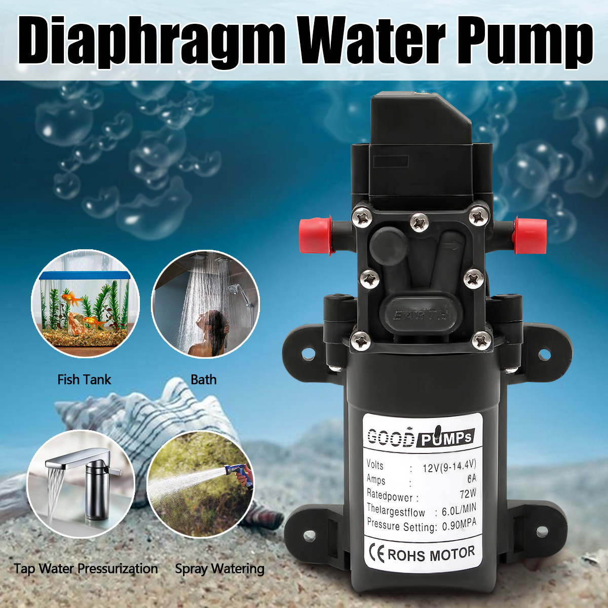 DC 12V <font><b>130PSI</b></font> 6L/Min Water High Pressure Diaphragm Water <font><b>Pump</b></font> Self Priming <font><b>Pump</b></font> Automatic Switch image