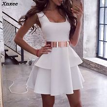 Summer Women Fashion Elegant White Sleeveless Casual Party Dress Female Tunic Layered Pleated Mini Xnxee