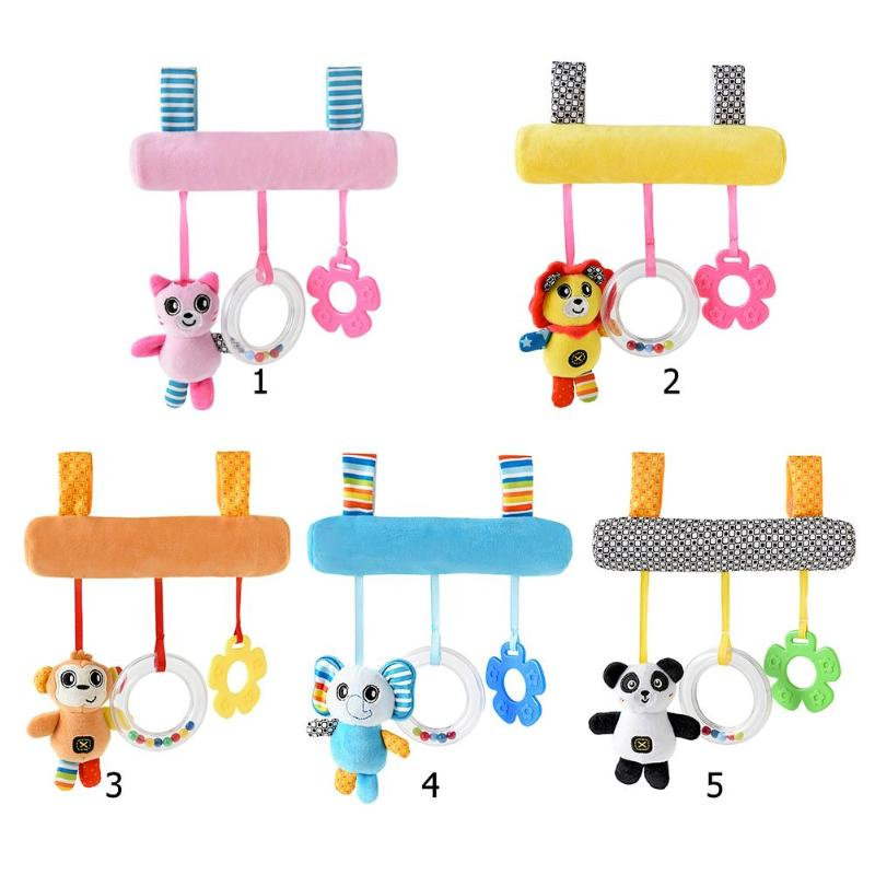 2019 Cute Cartoon Soft Animal Baby Toddler Crib Rattle Infant Squeaky Bed Stroller Hanging Bell Toys For Kids GIFT
