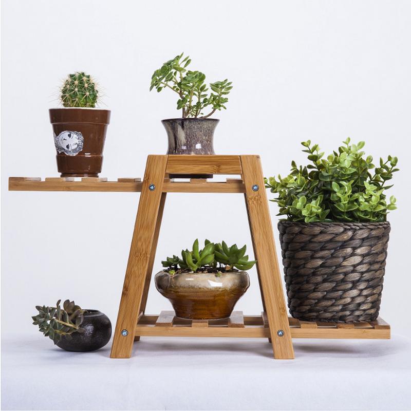 Desktop Flower Stand Indoor Balcony Living Room Bamboo Wood Shelf Garden Meaty Flower Pot Rack Plant Stand Corner Flower Pot Hol Plant Stand