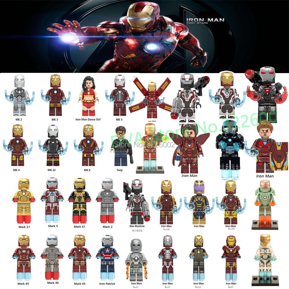 lEGOING Iron Man MK50 War Machine Figures Ironman Avengers MK35 Pepper God  Killer Armor Model