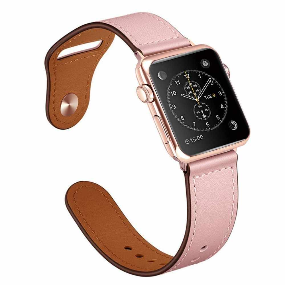 Cinturino In vera Pelle Per Apple Watch band 4 3 iwatch 42 millimetri 38 millimetri 44 millimetri 40 millimetri pulseira correa braccialetto smart watch Accessori anello