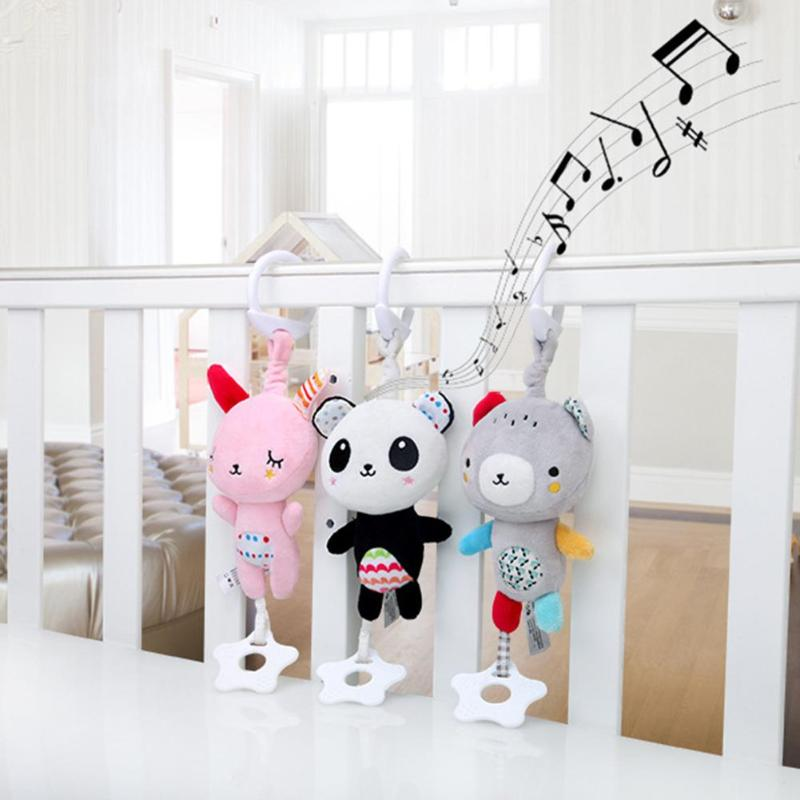 Cartoon Animal Plush Teether Pendant Baby Intelligent Infant Music Toys Baby Teether Kids Teething Toys For Newborn Gift