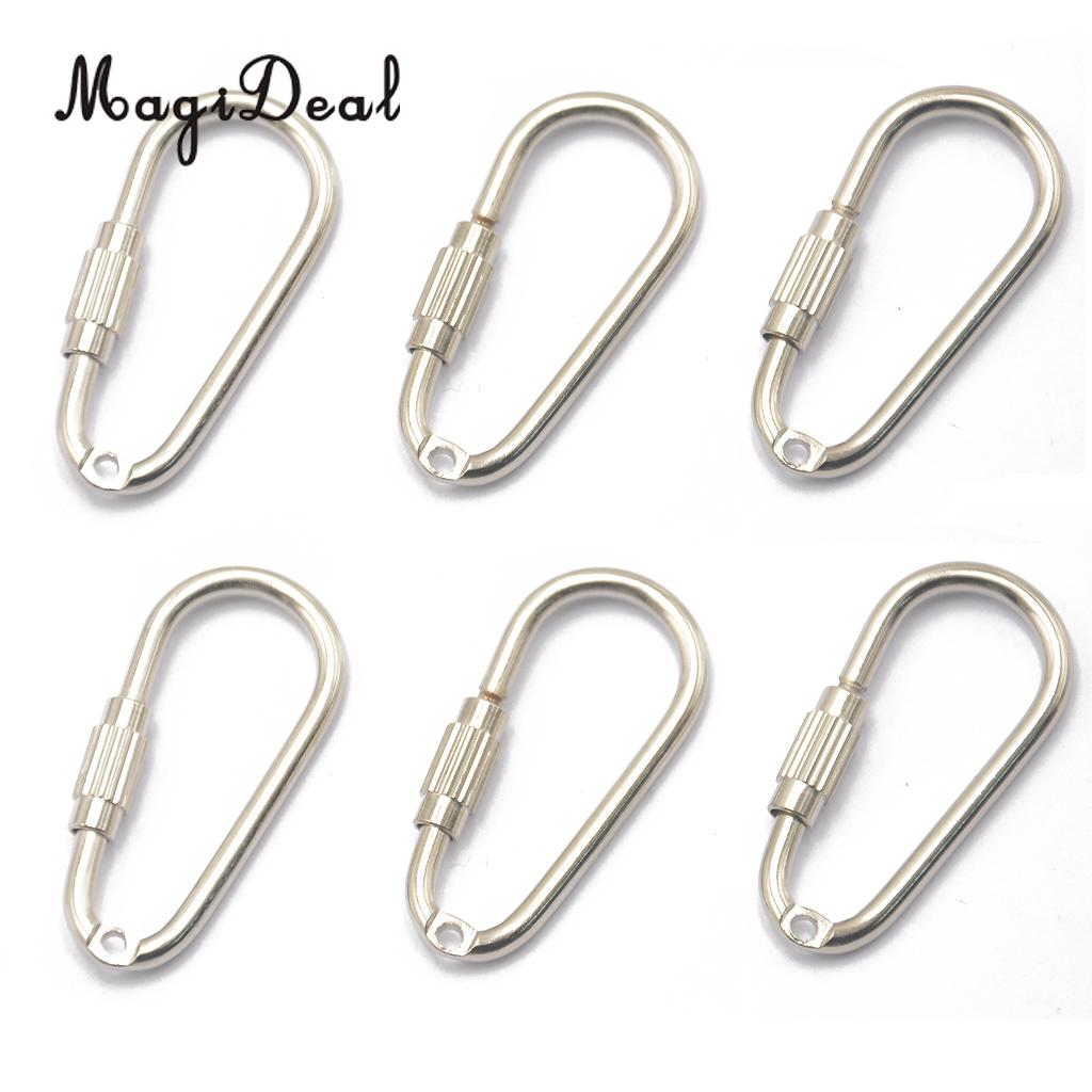 MagiDeal 6 Pcs Steel Screw Locking Carabiner Key Ring Clasp For Climbing Caving Fishing Hiking Traveling Hanging Cords Ropes