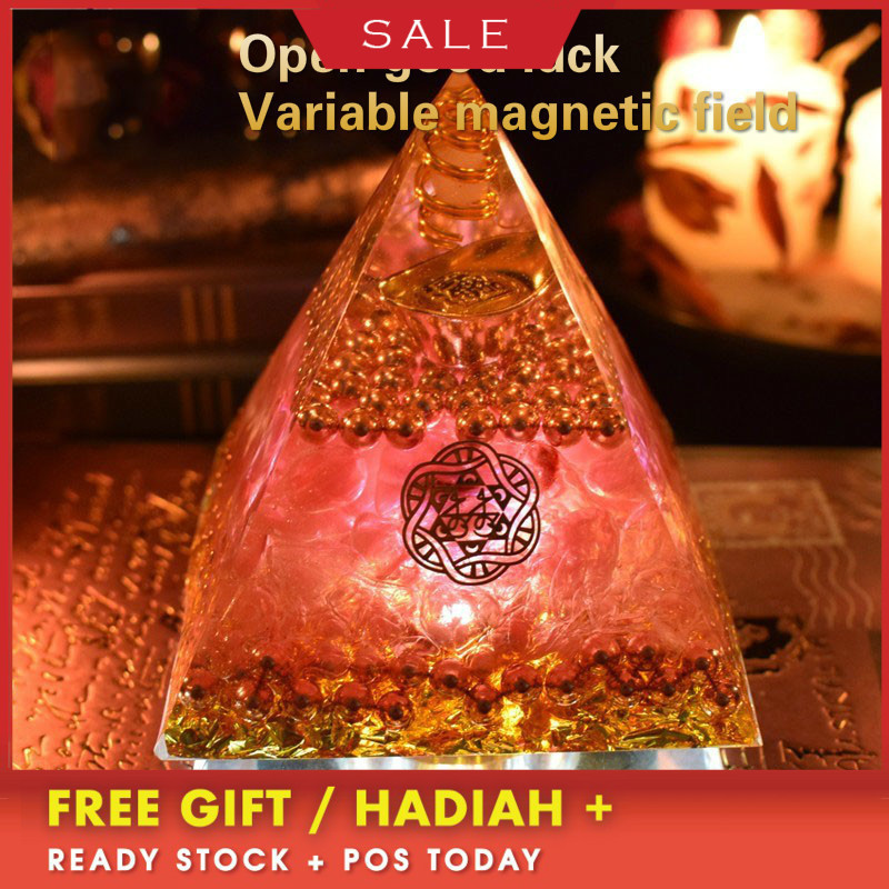 AURA REIKI Orgonite Pyramid Aochen Energy Tower Pyramid Crystal Decoration Love Gathering Home Resin Decorative Craft Jewelry