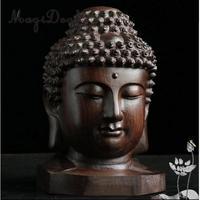 homyl Wooden Buddist Head Statue Figurine India Buddha Head Statue Craft Ornament Chinese Retro Fengshui Decor