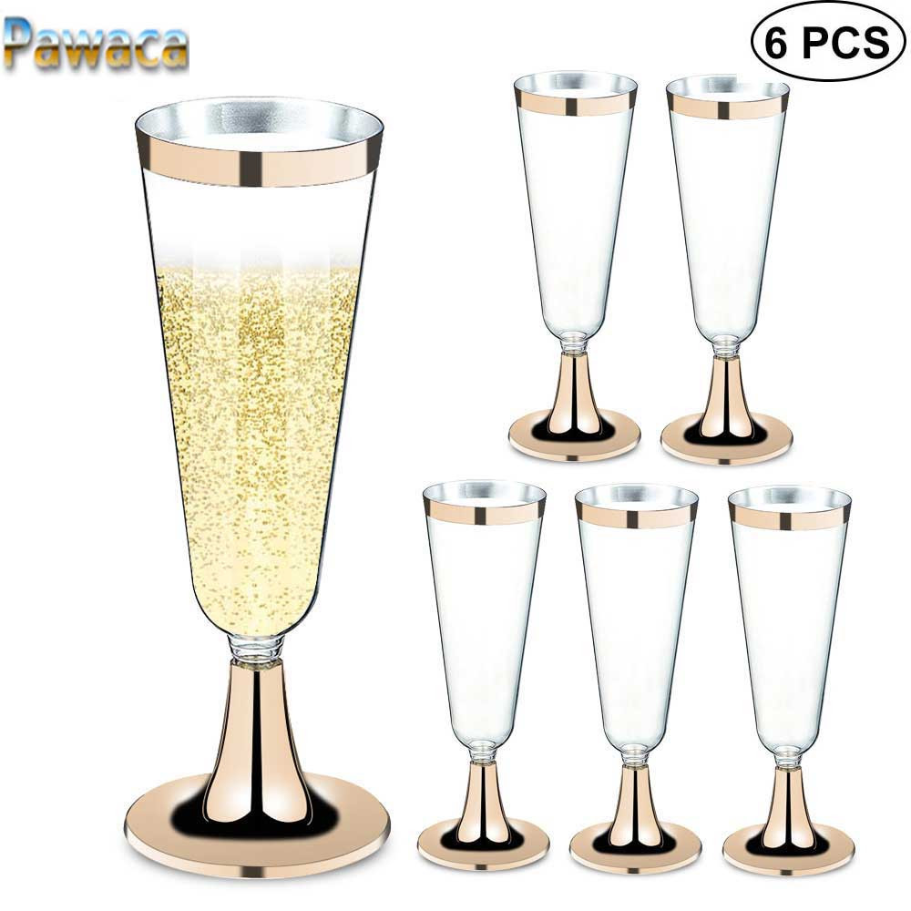 Disposable Plastic Wine Glass Party Wedding Champagne Flute Goblet Cocktail Cup