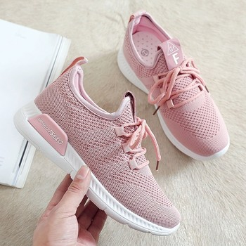 Mesh Breathable Women Running Shoes Slip-on Damping Sport Outdoor Sneakers Athletic Jogging Light Lace-up Shoes Female Sneakers