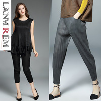 LANMREM 2019 New Loose Elastic Waist Pleated Harem Pants Stripe Fashion Elasticity Trousers Temperament Women Bottoms BC681