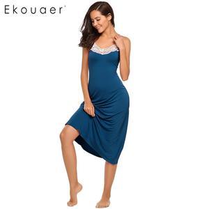 Image 1 - Ekouaer Sexy Lingerie Night Dress Sleepwear Women Sleeveless Lace Trim Spaghetti Strap Nightie Nightgown Female Sleep Nightdress