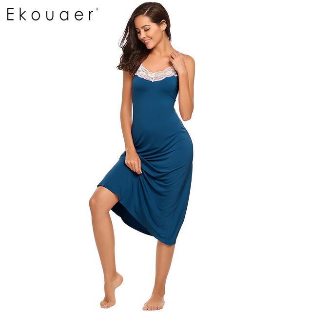 Ekouaer Sexy Lingerie Night Dress Sleepwear Women Sleeveless Lace Trim Spaghetti Strap Nightie Nightgown Female Sleep Nightdress