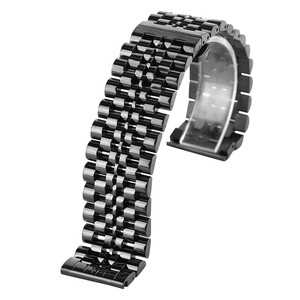 Image 5 - 22mm Silver/Black Stainless Steel Watch Band Folding Clasp with Safety Solid Watches Strap for Men Watch Replacement Bracelet