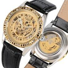 цена на Top Brand Luxury Watch Men Crystals Skeleton Display Automatic Mechanical Wristwatch High Quality Genuine Leather Watch reloj