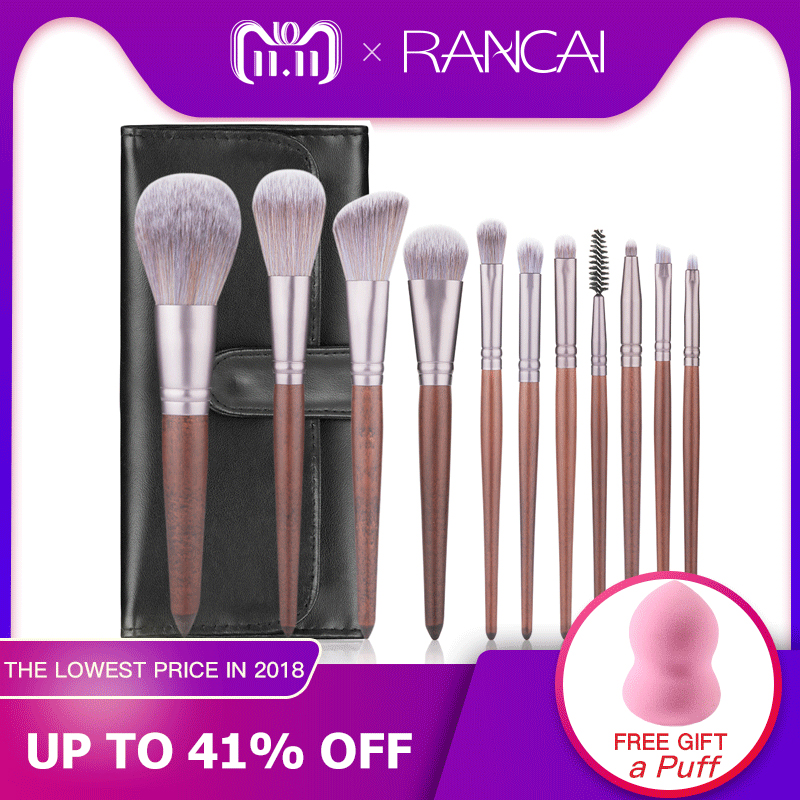 RANCAI 11pcs Makeup Brushes Set Walnut Handle Powder Blusher Lip Eyeliner Eyeshadow Microcrystalline silk Brush Beauty Tools Kit rancai 12pcs makeup brushes set powder foundation blusher lip eyeliner eyelash eyeshadow eyebrow brush
