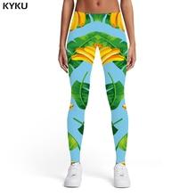 KYKU Brand Banana Leggings Women Leaves Leggins Green Elastic Harajuku Trousers 3d Print Womens Leggings Pants Casual Fashion